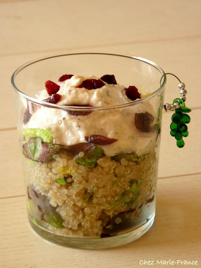 salade de quinoa et mousse d'asperges