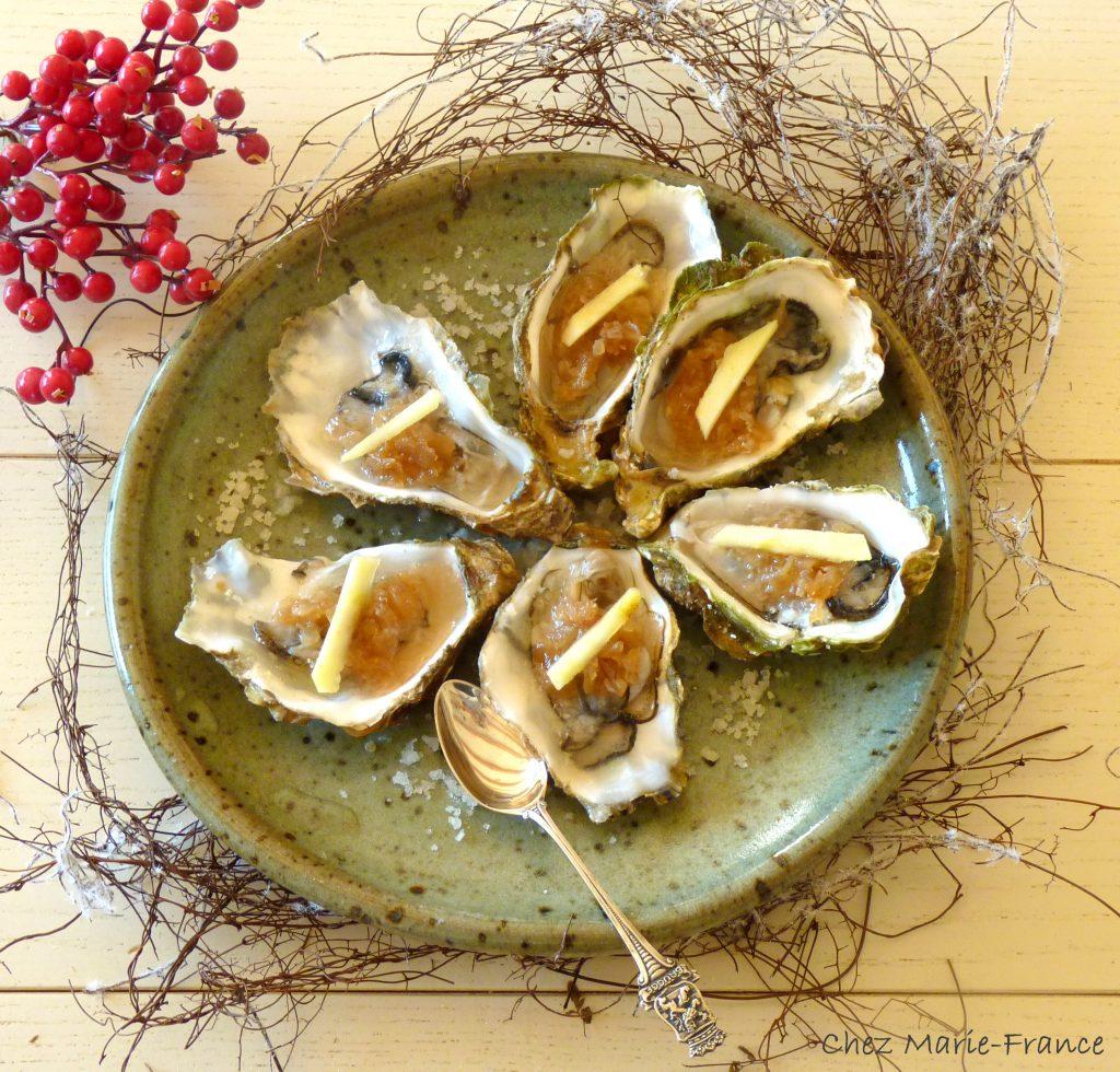 Huîtres aux échalotes confites vinaigre pulpe citron gingembre