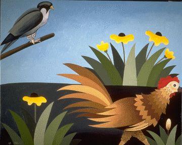 """Illustration de la fable de La Fontaine """"Le faucon et le chapon"""" par l'artiste peintre Willy Aringtingi."""