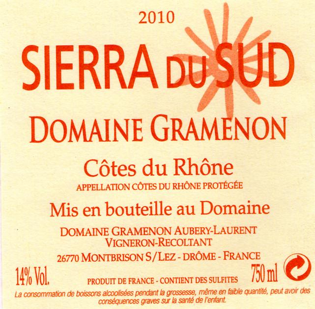 sierra du Sud Domaine Gramenon