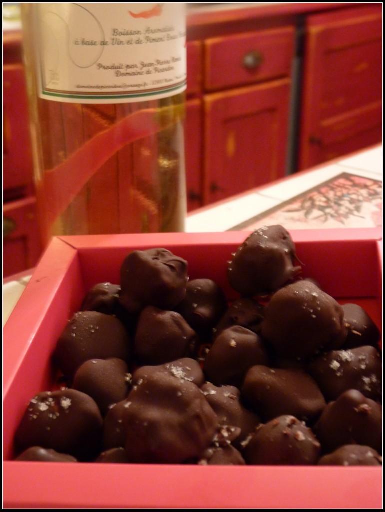 bouchées de chocolat au chèvre épicé