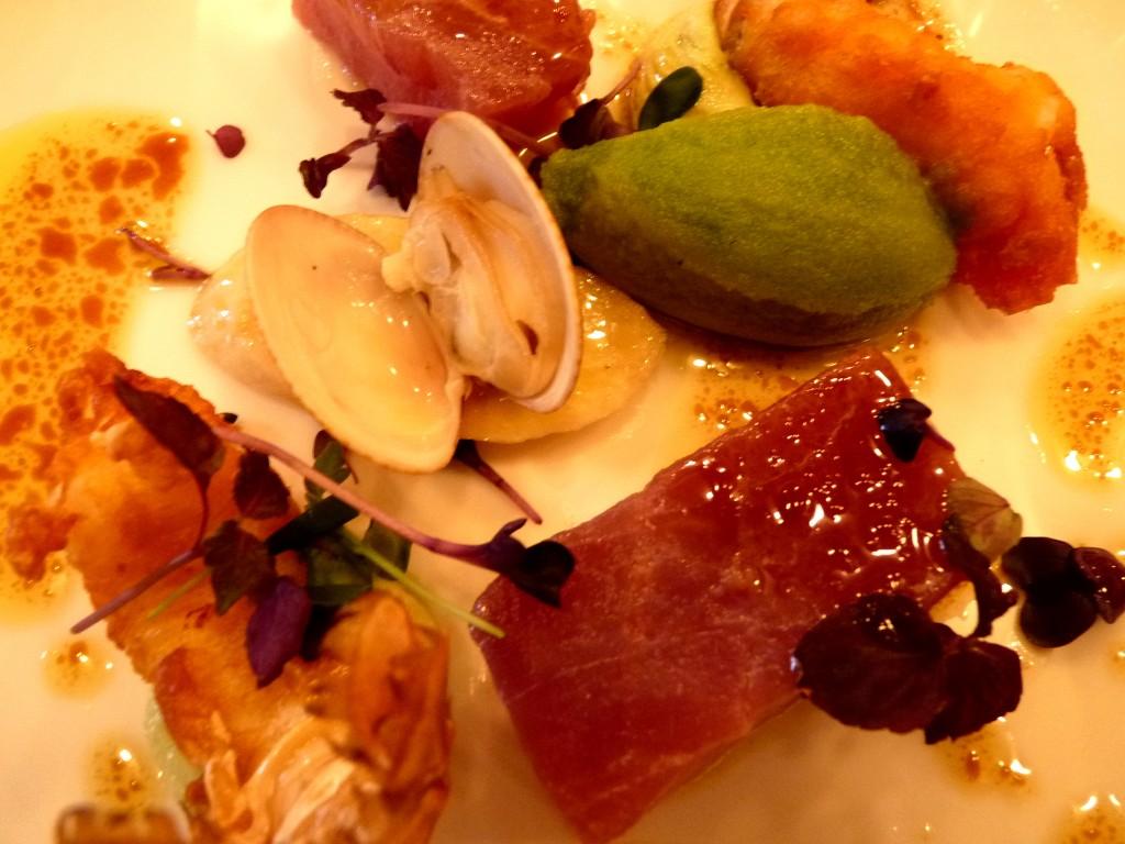 crevette impériale, thon rouge et palourdes