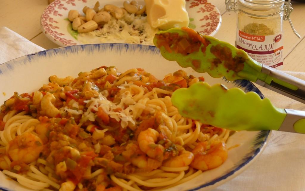 Spathetti crevettes et noix de cajou