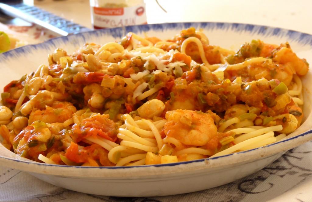 Spaghetti aux crevettes