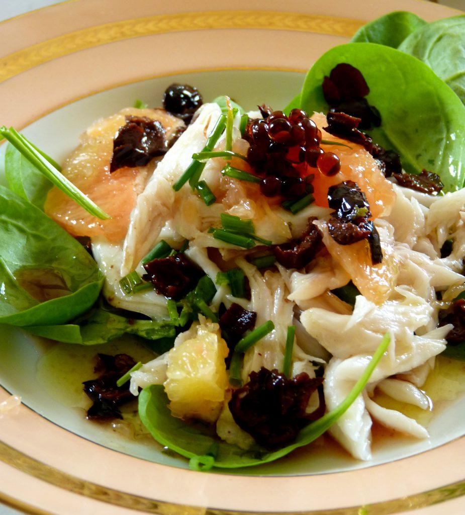 Salade d'aile de raie aux jeunes pousses d'épinard