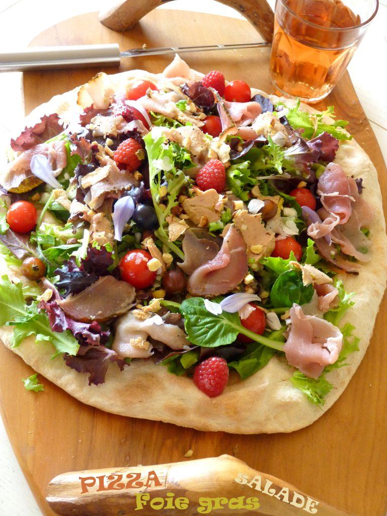 Pizza-salade au foie gras Labeyrie