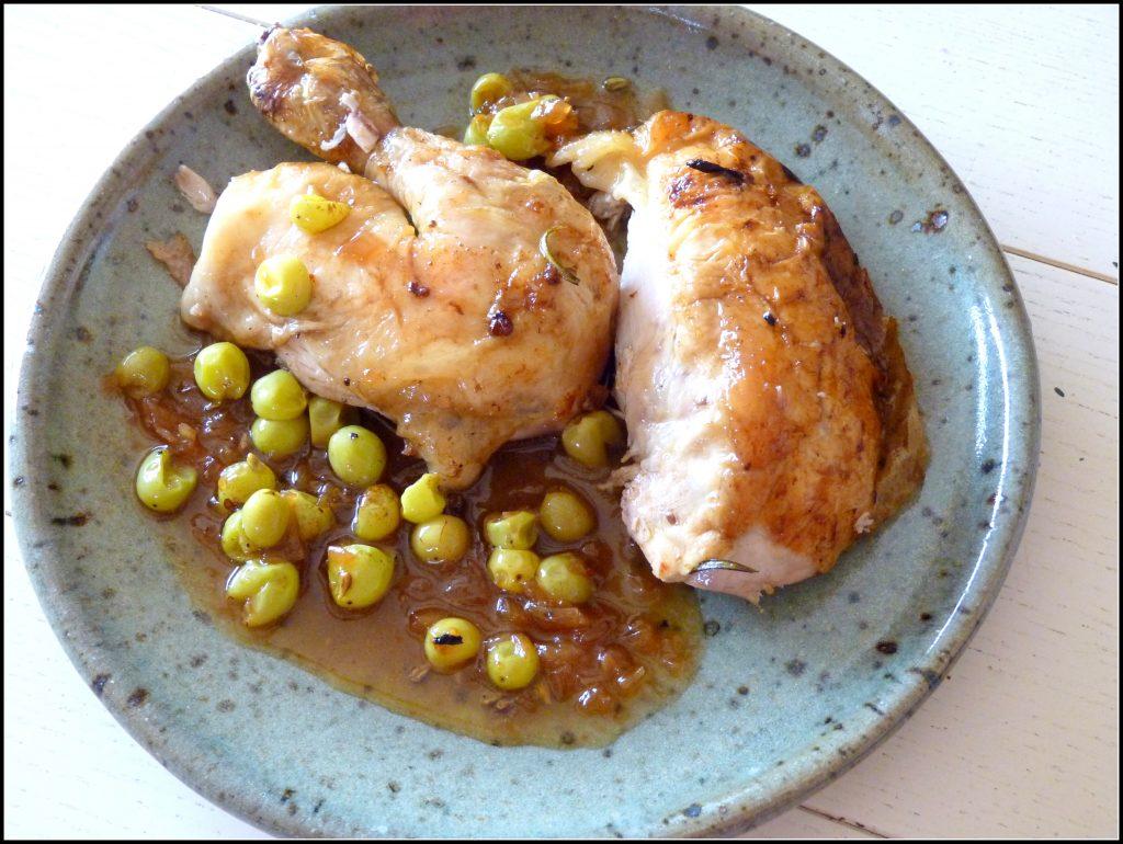 Poulet rôti aux raisins blanc sauce au cidre