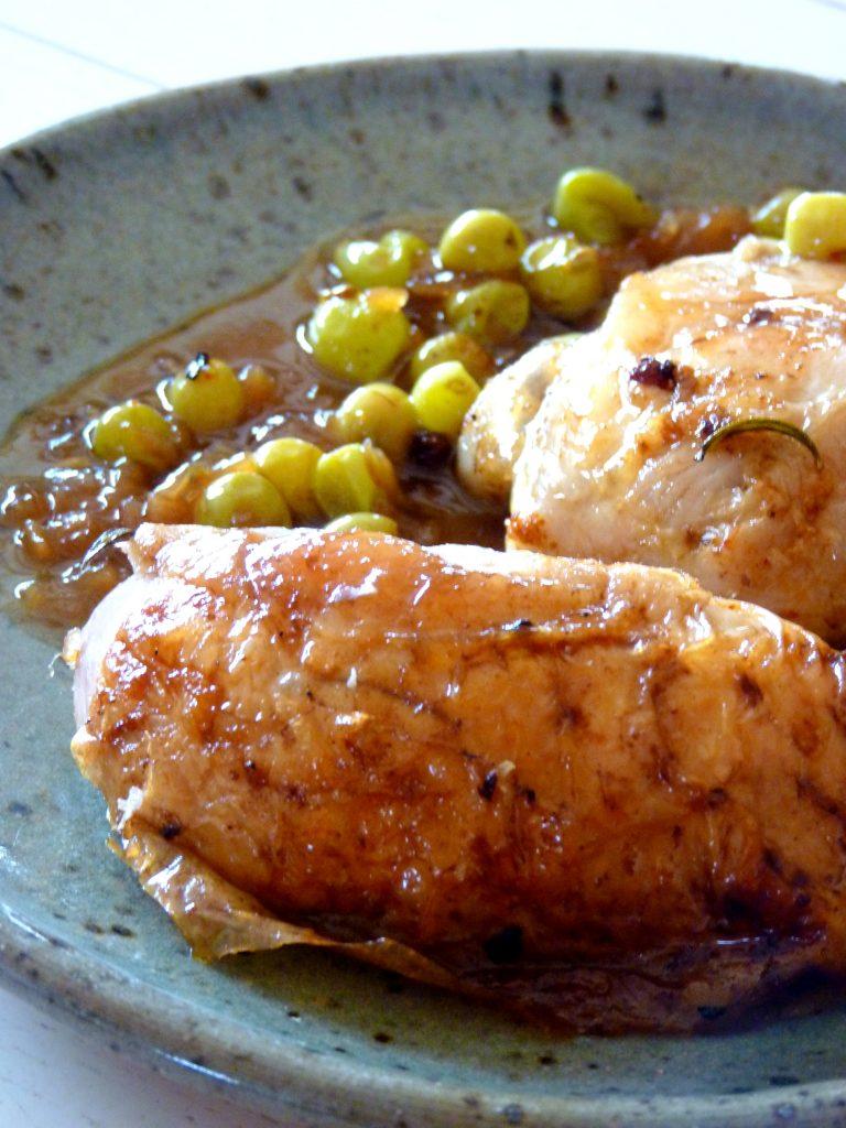 Poulet rôti au raisin muscat sauce au cidre