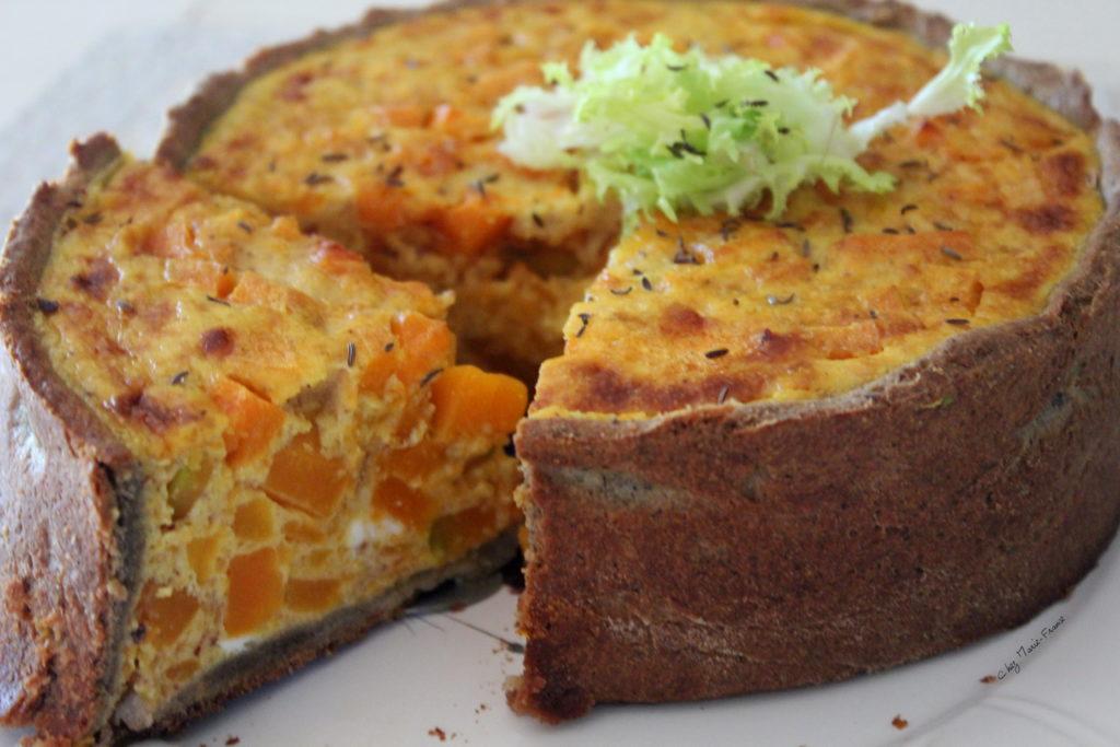Tourte à la courge Gris de Vendée, pâte brisée à la farine de blé noir