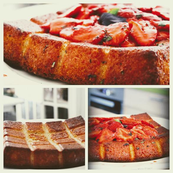 Gâteau aux fraises basilic